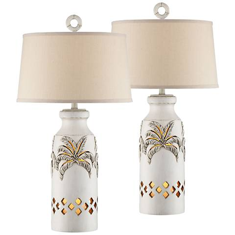 Island Bay White Table Lamps with Night Lights Set of 2