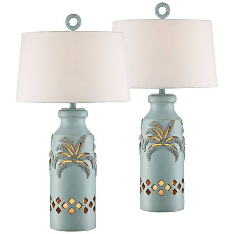 Island Bay Glacier Blue Table Lamp with Night Light Set of 2