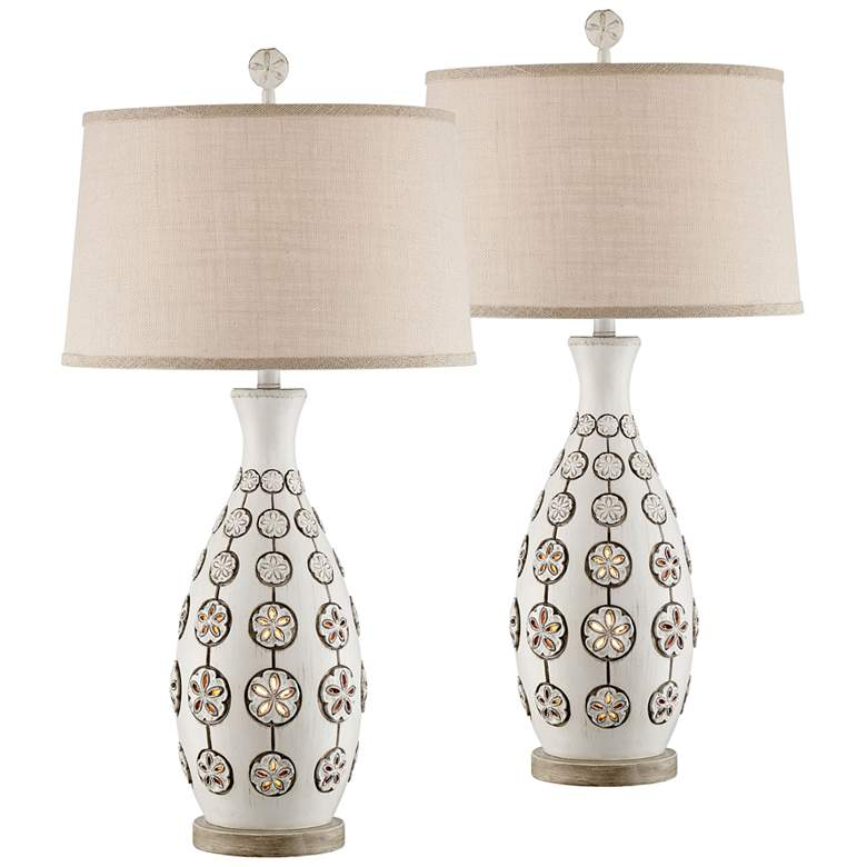 Sanibel Antique White Table Lamp with Night Light Set of 2