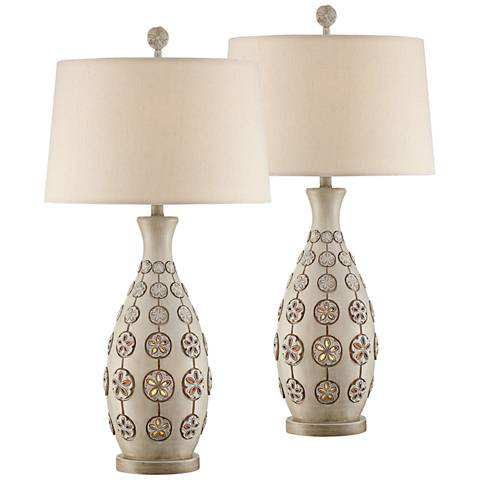 Sanibel Misty Haze Table Lamps with Night Light Set of 2