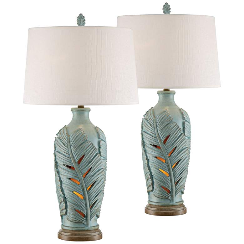 Marco Island Glacier Blue Night Light Table Lamps Set of 2
