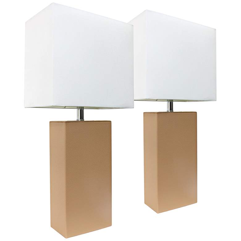 Albers Beige Leather Accent Table Lamp Set of 2