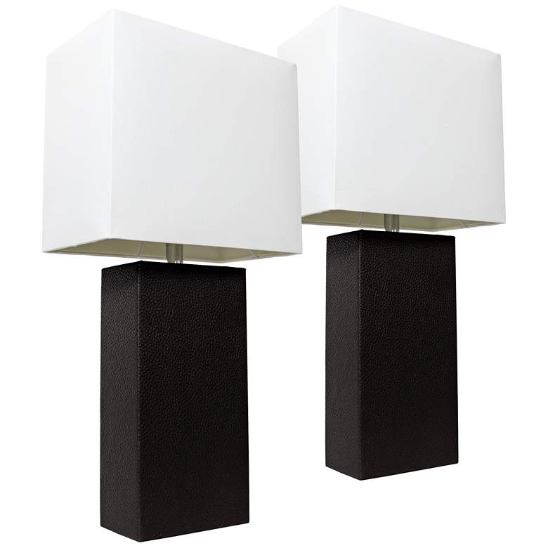 Albers Black Leather Modern Table Lamps Set of 2