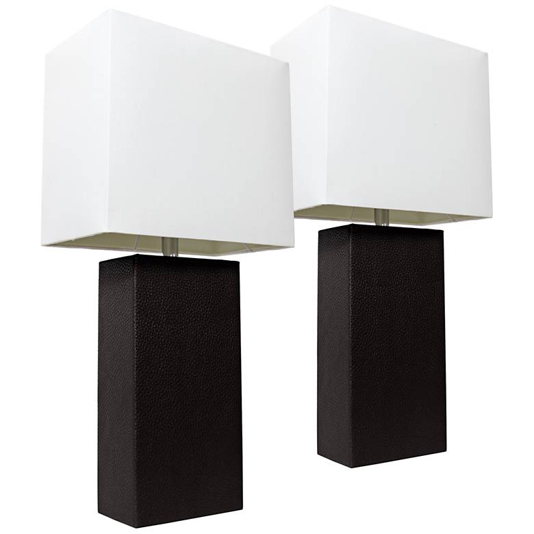 Albers Black Leather Accent Table Lamp Set of 2