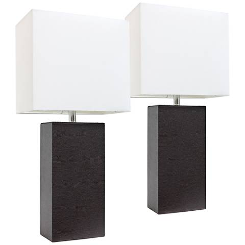 Albers Espresso Brown Leather Accent Table Lamp Set of 2