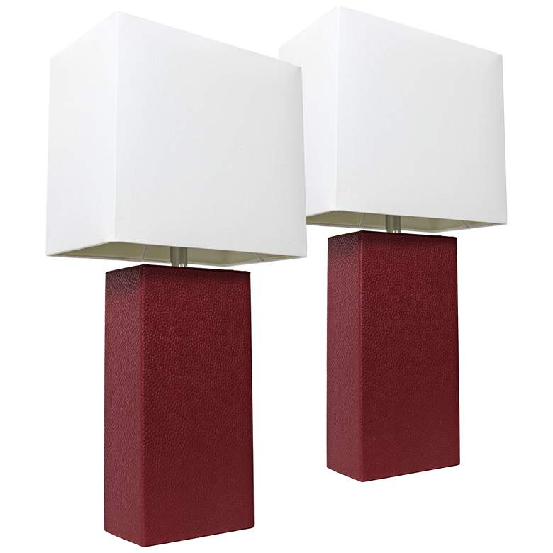 Albers Red Leather Accent Table Lamp Set of 2