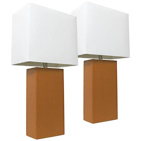 Albers Tan Leather Accent Table Lamp Set of 2