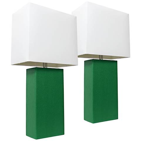 Albers Green Leather Accent Table Lamp Set of 2
