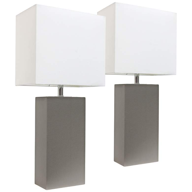 Albers Gray Leather Modern Accent Table Lamps Set of 2