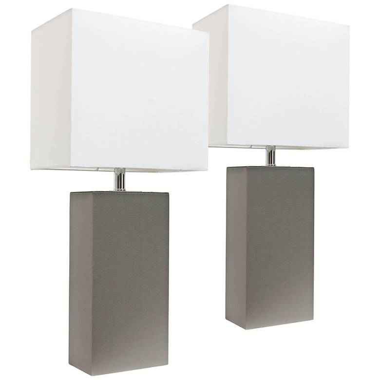 Albers Gray Leather Accent Table Lamp Set of 2