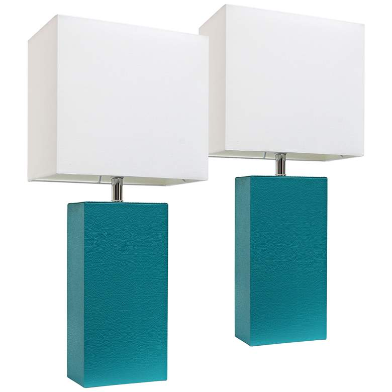 Albers Teal Leather Accent Table Lamp Set of