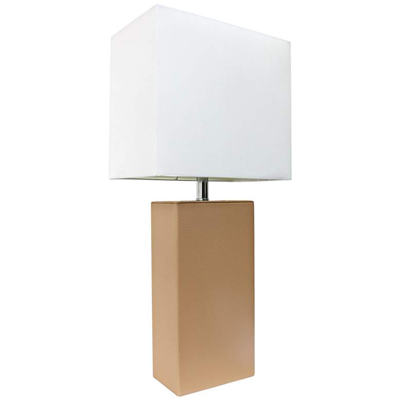 Albers Beige Leather Accent Table Lamp