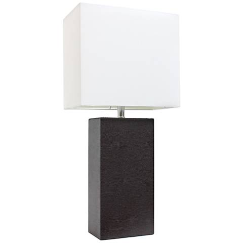 Albers Espresso Brown Leather Accent Table Lamp