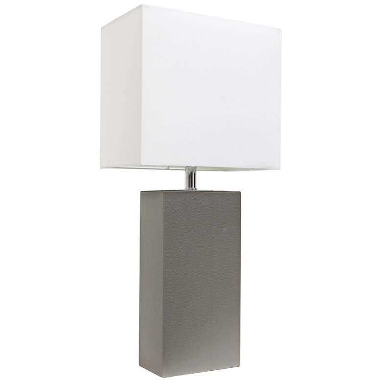 Albers Gray Leather Accent Table Lamp