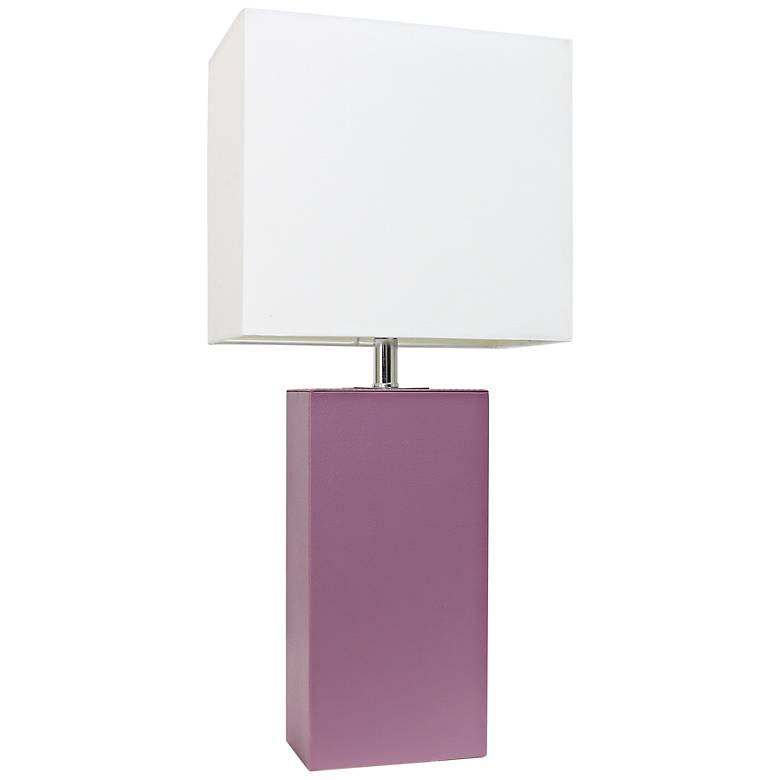 Albers Purple Leather Accent Table Lamp