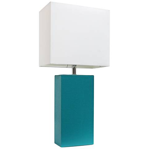 Albers Teal Leather Accent Table Lamp