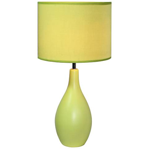 "Loma Green 19""H Oval Bowling Pin Ceramic Accent Table Lamp"