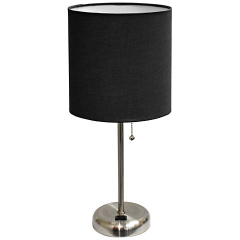 """Ben Brushed Steel 19 1/2""""H Accent Table Lamp w/ Black Shade"""