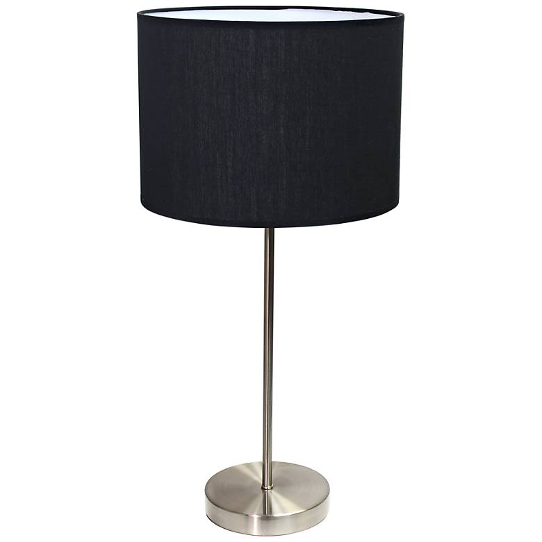 Ben Brushed Steel Accent Table Lamp with Black Shade