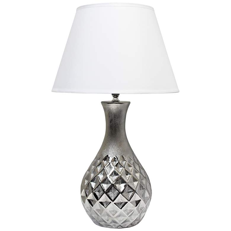 Juliet Metallic Silver Ceramic Accent Table Lamp
