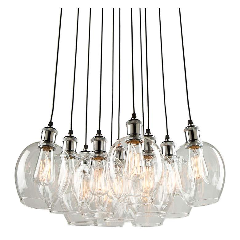 """Clearwater 22""""W Polish Nickel and Black Multi Light Pendant"""
