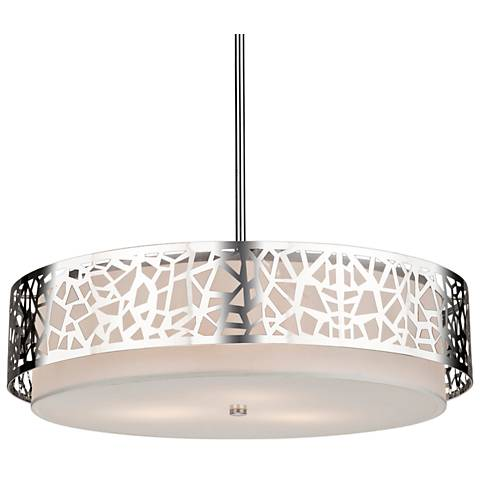 "Artcraft Bayview 20"" Wide Chrome and White Pendant Light"
