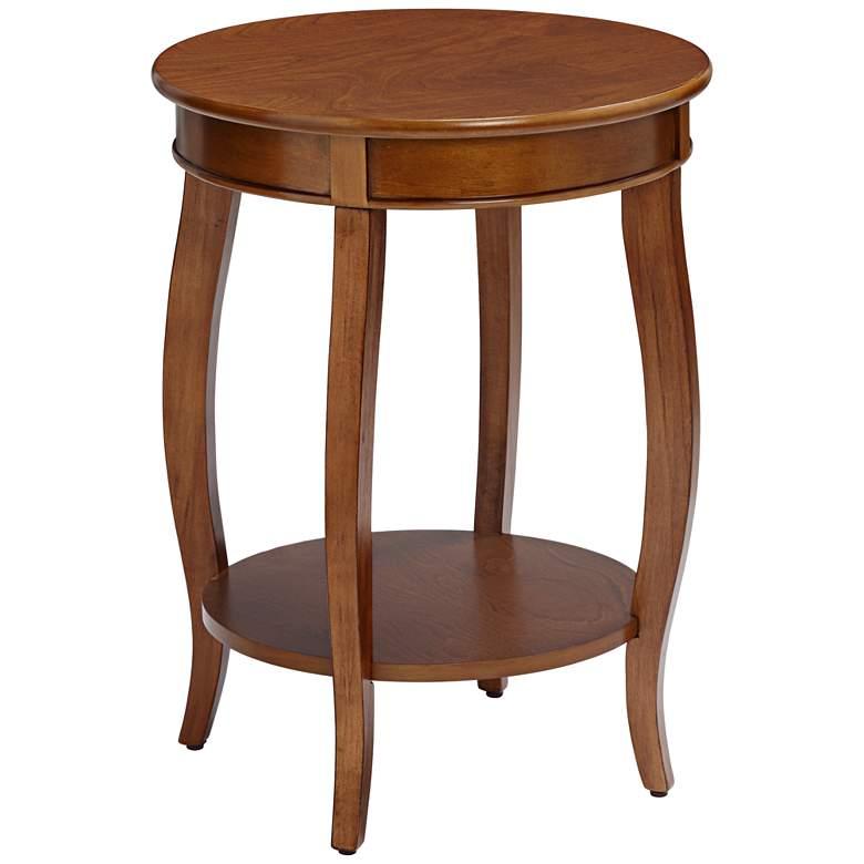 """Aberta 18"""" Wide Walnut 1-Shelf Side Table"""