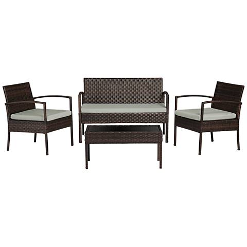 Cayman Isle Wicker Gray Cushion 4-Piece Outdoor Patio Set