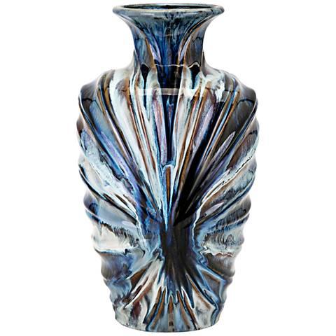 """Myla Multi-Color Blue 15 1/2"""" High Large Ceramic Vase"""