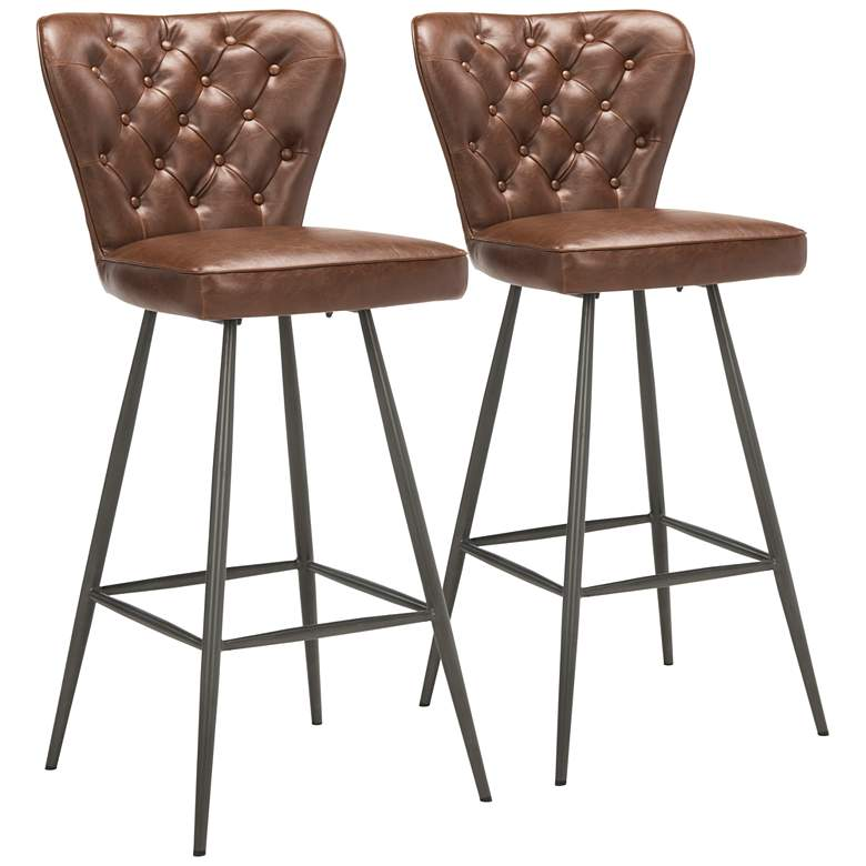 """Aster 30"""" Burgundy Faux Leather Tufted Barstool Set"""