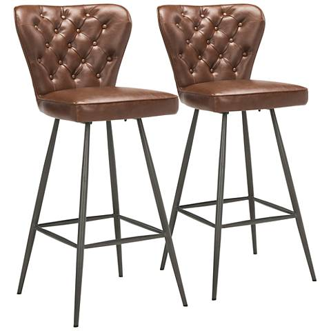 """Aster 30"""" Burgundy Faux Leather Tufted Barstool Set of 2"""