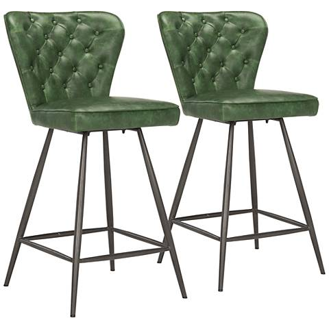 "Ashby 26"" Green Faux Leather Tufted Counter Stool Set of 2"