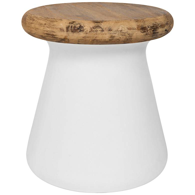 Button Ivory Concrete Round Indoor-Outdoor Accent Table
