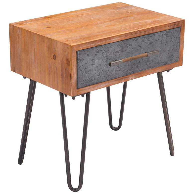 """Zuo Kennedy 23 1/2"""" Wide Metal and Wood Modern End Table"""