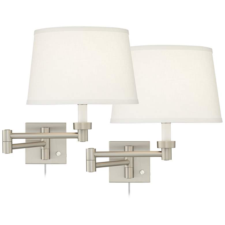 Set of 2 Brushed Nickel White Drum Swing Arm Wall Lamps