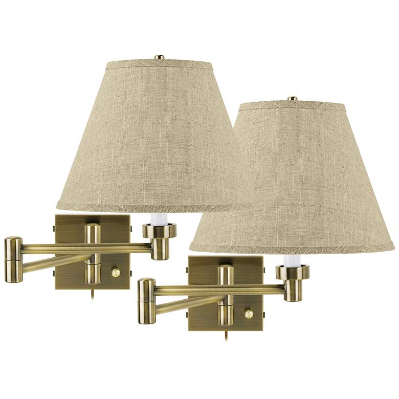 Set of 2 Antique Brass Empire Shade Swing Arm Wall Lamps