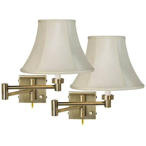 Creme Bell Shade Antique Brass Swing Arm Wall Lamps Set of 2