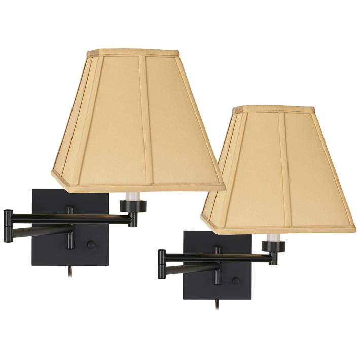 Set Of 2 Espresso Bronze Gold Tan Swing Arm Wall Lamps
