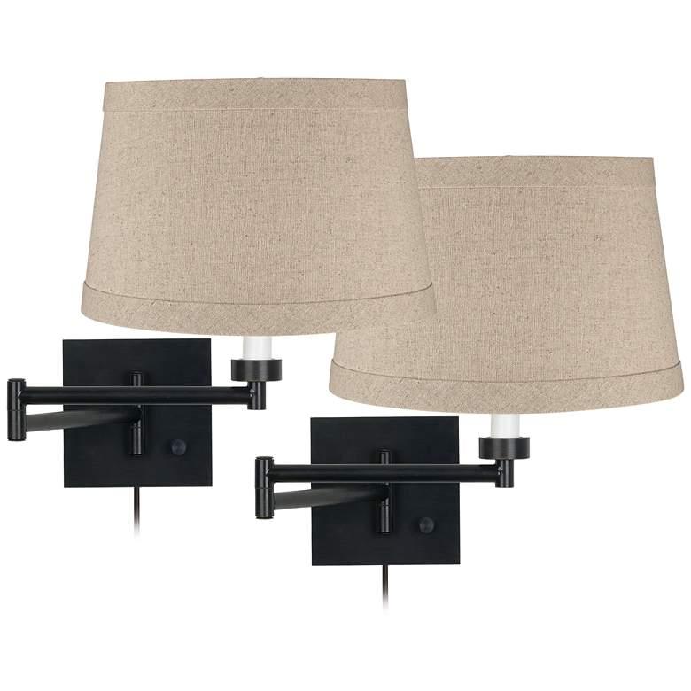 Espresso Bronze Natural Linen Swing Arm Wall Lamps Set of 2