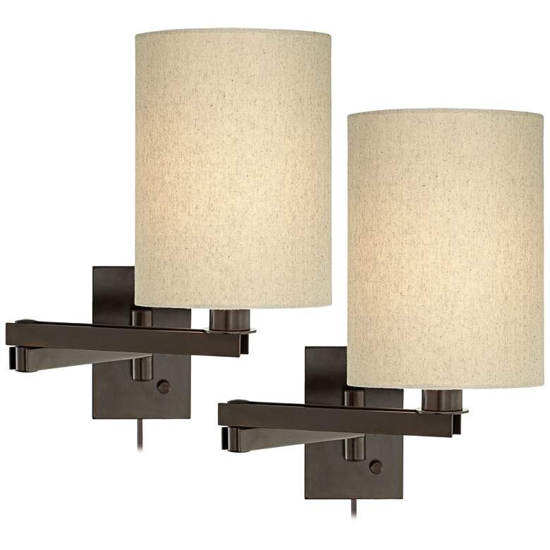 Set of 2 Bronze Tan Cylinder Shade Swing Arm Wall Lamps