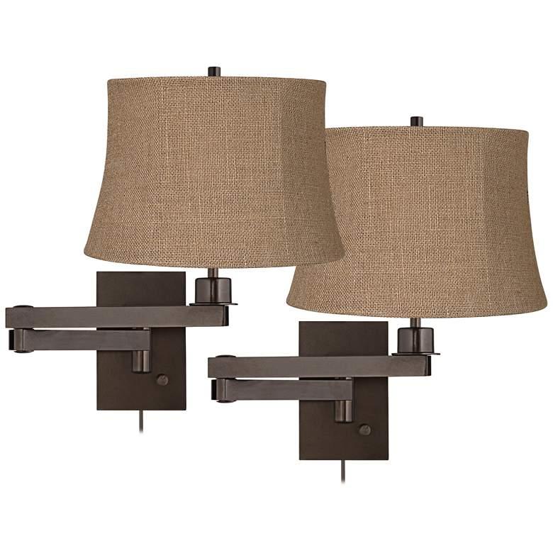 Set of 2 Bronze Natural Burlap Shade Swing Arm Wall Lamps