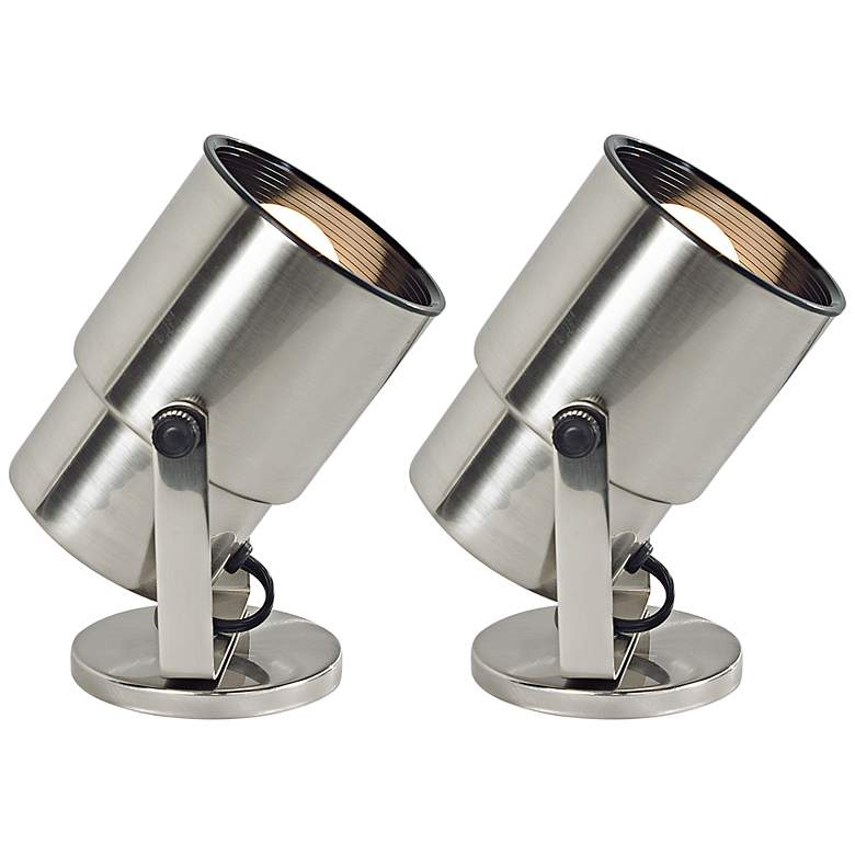 "Brushed Nickel 8"" High Accent Uplights - Set of 2"