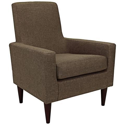 Edward Pecan Woven Fabric Armchair