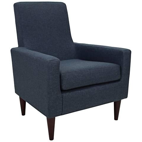 Edward Navy Blue Woven Fabric Armchair