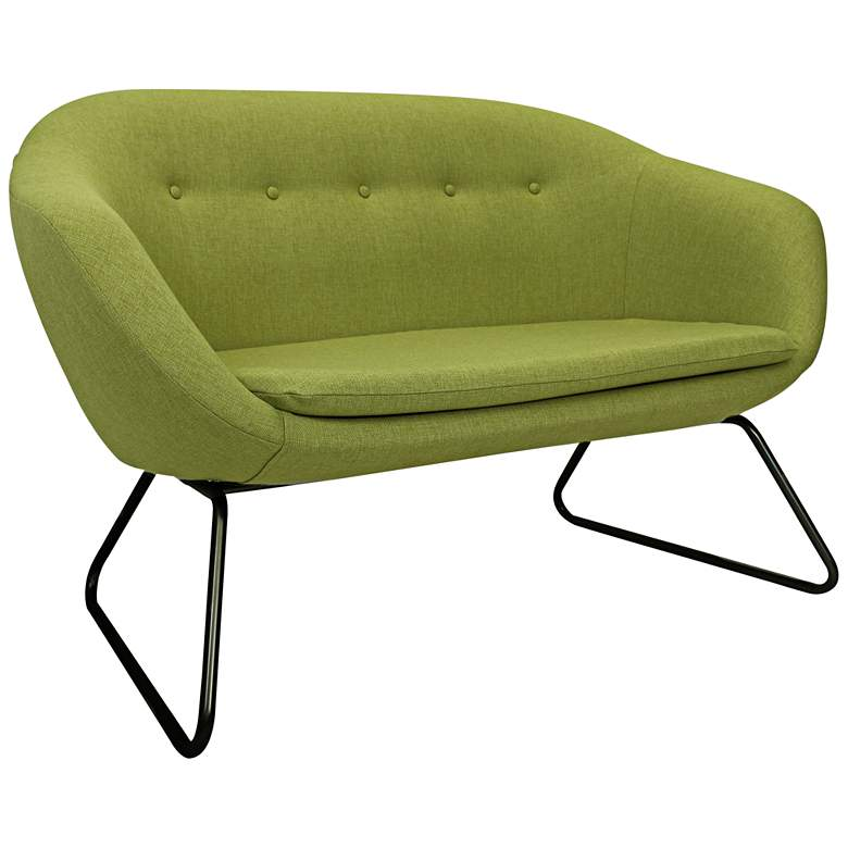 """Comet 55 3/4"""" Wide Grasscloth Green Woven Tufted Settee Sofa"""