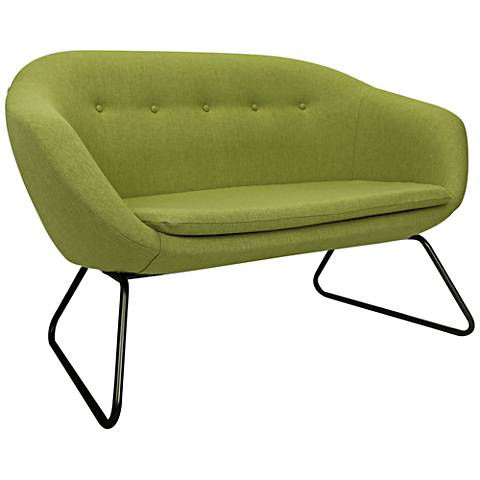 Comet Grasscloth Green Woven Fabric Tufted Settee Sofa