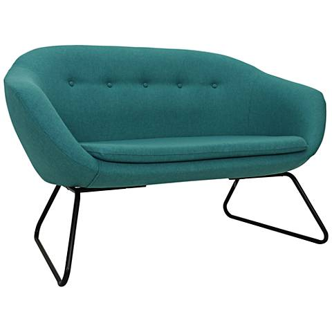 Comet Tonic Blue Woven Fabric Tufted Settee Sofa