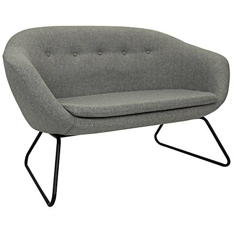 Comet Felt Gray Woven Fabric Tufted Settee Sofa