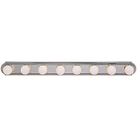 "Chrome Eight Light 48"" Wide Bathroom Light Fixture"