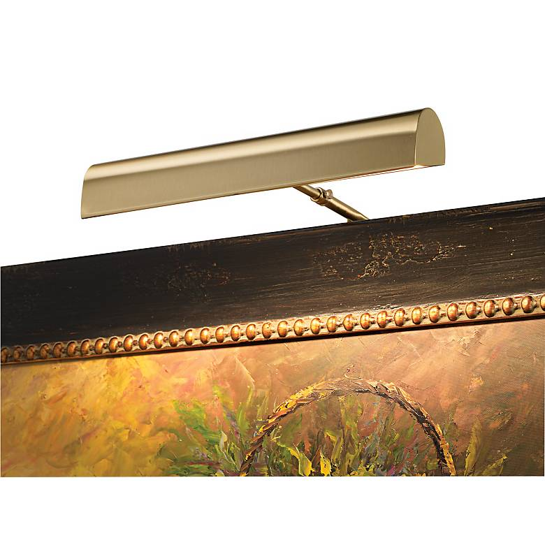 """House of Troy 14"""" Wide Plug-In Satin Brass Picture Light"""